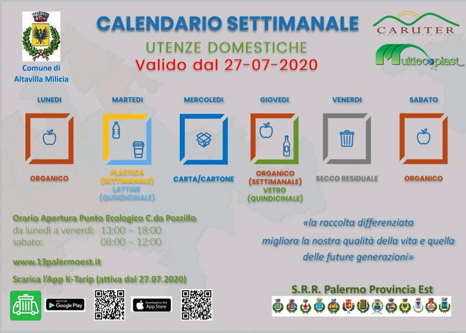 Calendario raccolta differenziata porta a porta